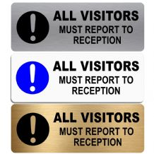 All Visitors Must Report To Reception-WITH IMAGE-Aluminium Metal Sign-Door,Notice,Office,Business